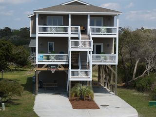 Oak Island house photo - 4PlusMoor,Wonderful rocking porches, bsktball hoop ,stnlss grill, 2picnic tables