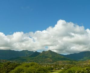 Kailua studio photo - Mount Olomana and Koolau mountain range view to west from the balcony