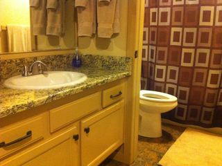 Beautiful Bathroom with granite countertops