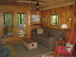Boothbay Harbor cottage photo - Living Room opens into large Screened Porch
