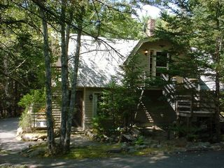 Somesville chalet photo - Private wooded setting. Entries on both levels.(Also: Inside stairway access)