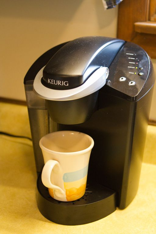 Keurig coffeemaker; drip and French Press also available.