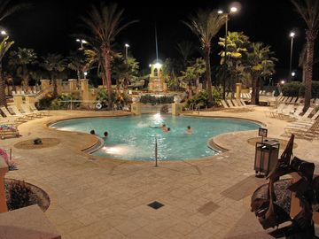 Pool complex at night