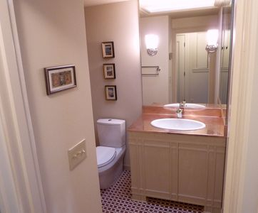 Newly remodeled HALL BATH with 2 person tub is close to second bedroom