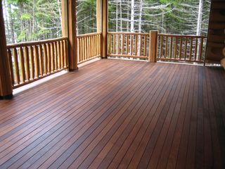 Gouldsboro cabin photo - A spacious deck overlooks the bay...