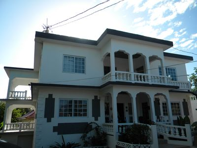 Front view of the gorgeous 6 bedroom villa with multiple private balconies.