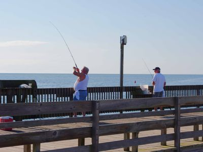 Bass River Beach Pier enjoyed by locals & visitors alike for fishing & crabbing.