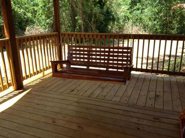 You can sit and relax on the back deck and enjoy swinging together.