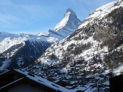 Zermatt apartment rental - The view from the balcony, and from the sofa in the lounge