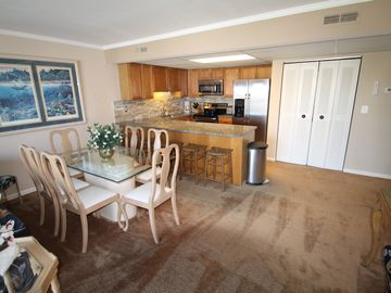 Sovereign Sea Ocean City condo rental - View from Living room to Dining area and Kitchen.