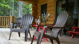 Gouldsboro cabin photo - Sit on the spacious deck and enjoy the view and the sounds of loons and gulls...