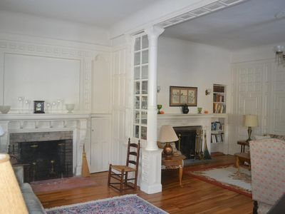 View of two fireplaces
