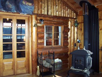 3-season porch with wood stove