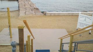 Old Saybrook house photo - Entry to beach with outdoor shower and foot wash station