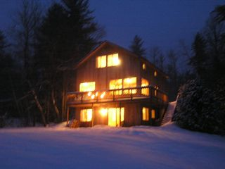 Newfound Lake house photo - Back of house at night