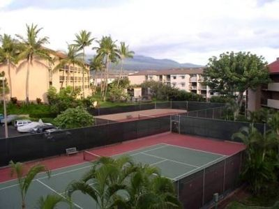 Shared tennis courts.