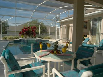 Westridge villa rental - Pool Side Dining next to your private south west facing pool with covered lanai
