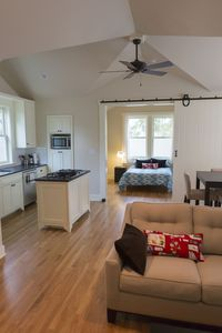Austin apartment rental - The barn door in the background can close creating two separate sleeping areas.