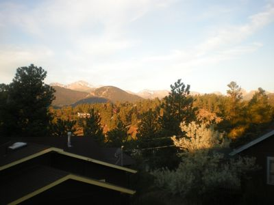 Longs Peak and the range from our cabins.