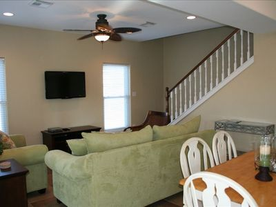 Galveston house rental - View of living room and staircase up to Master bedroom