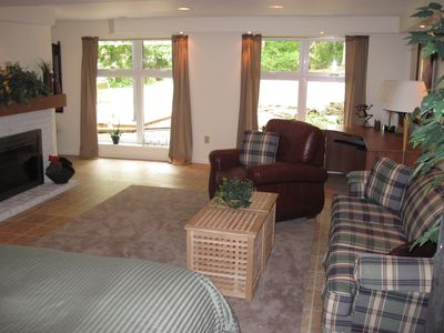 Bonus room - big windows, desk, gas fireplace, sitting area,queen bed, full bath