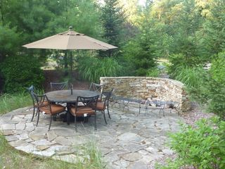 New Buffalo house photo - Patio with fire pit.