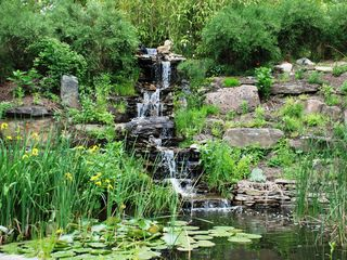 East Hampton house photo - Waterfall and pond