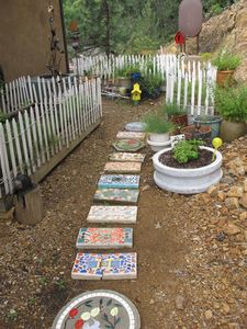 Steps into herb garden