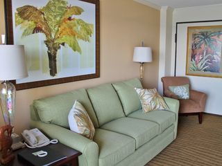 Caravelle Resort condo photo - Brand new sleeper sofa and tropical decor
