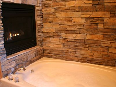 A fireplace and bubblebath in the upstairs master suite's two-person jacuzzi