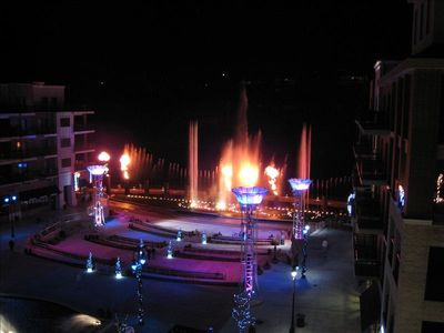 Water/Fire Fountain at night