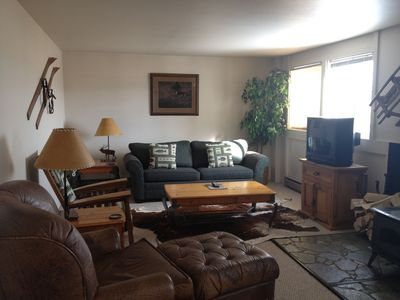 Living Room with wood stove, television, queen sized convertible sofa and chairs