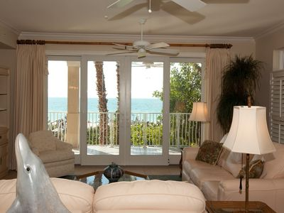 Holmes Beach condo rental - Living Room and Balcony