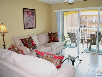 Large, comfortable living room -- opens onto gulf view balcony!
