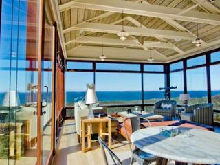 Chilmark house photo - Martha's Vineyard Rental Chilmark Water View Vista Point Living Room Three Walls Of Glass Look Out Over Vineyard Sound