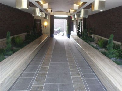 Extravagant gated and secured entrance to courtyard and unit entrances