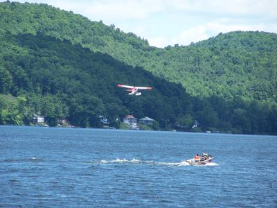The seaplane just took off from the water