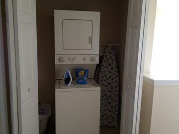 Washer, Dryer, full size iron/ironing board and laundry basket for your use.