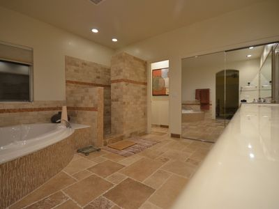 Master bathroom with travertine floor and under floor heating! Wonderful!
