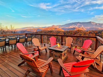 BRAND NEW Luxury 5BD/4BA Cabin! PANORAMIC Views! Theater, Fire Pit, HUGE Decks!