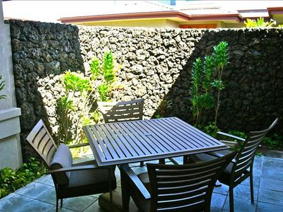 Mauna Lani townhome rental - Private lanai for morning coffee & breakfast.
