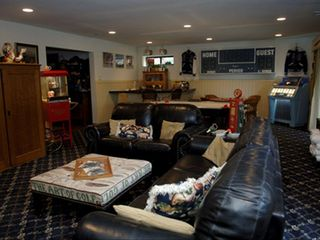 Castro Valley estate photo - Jumbo Game Room with TV/DVD, wet bar, air hockey