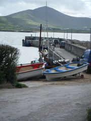 Dingle Peninsula cottage photo - Boats at Ballydavid pier. Cruach Mhárthain in background.