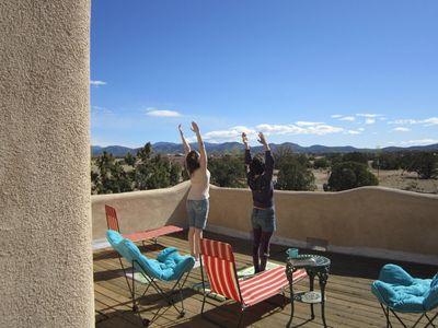 'Salute to the Sun' on the deck of our New Mexico home