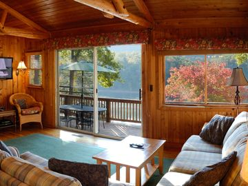 Great room with views of lake and mountain