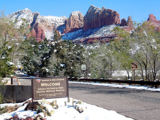 Sedona house photo - 5-acre Sedona Heritage Park located just across the street taken after a snow