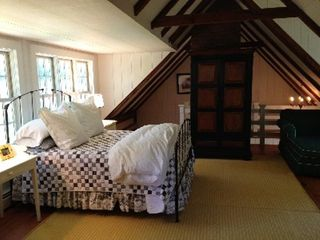 Woodstock farmhouse photo - Guest bedroom #1 - Queen size bed. Largest of bedrooms with seperate stair
