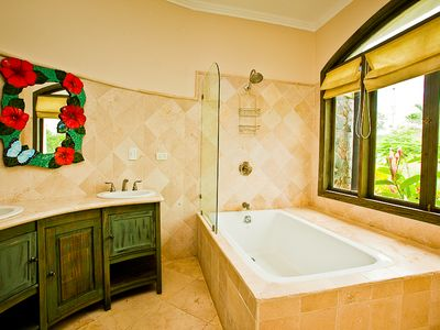 The master bath with picture window.