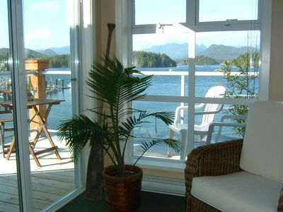 The view from the living room looking out over the harbor toward Meares Island.
