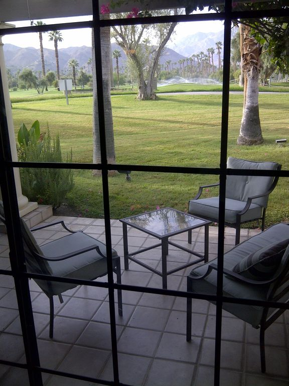 Palm Springs condo rental - Front Patio overlooking golf course and mountains